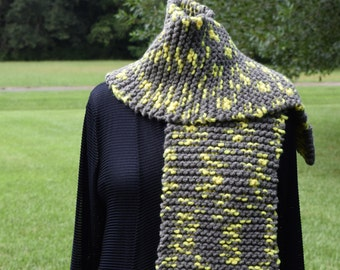 Yellow and Grey Chunky Knit Scarf