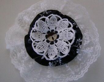 Large Barette Adorned with Lace, Crochet Motif, Yo Yo