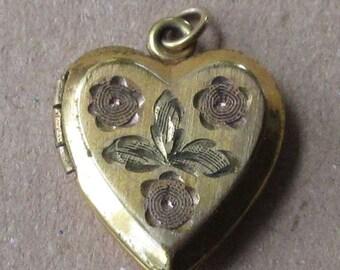 Vintage Goldtone Brass Heart Locket Circa 1940s Bright Cut