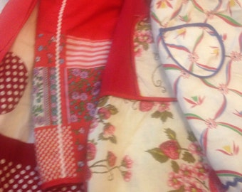 4 aprons! Reds, One Child's Apron.