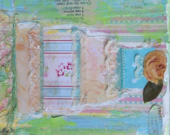 Collectible Small Art Original Mixed Media Painting - Fancy Cake