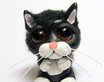 "OOAK Sad Tuxedo Kitty Cat Trollfling Troll mini doll ""Baxter"" by Amber Matthies"