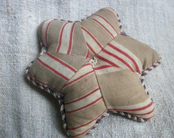 Antique French Pincushion ~ Star Shape ~ Double sided Velvet & Mattress Ticking c1900
