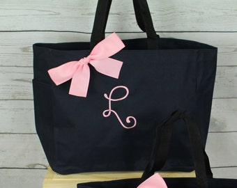 5 Monogrammed Tote Bags, Personalized Bridesmaid Gift Tote Bags, Bridesmaid Tote, Personalized Tote Wedding- Initial