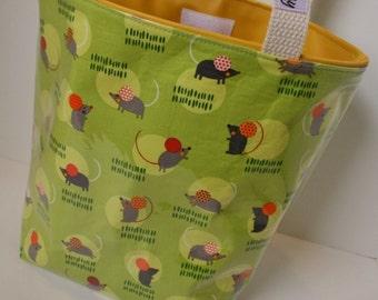 Green Mouse Fabric Reusable Lunch Bag, Lunch Sack, Reusable Bag, Picnic Bag, Boat Bag