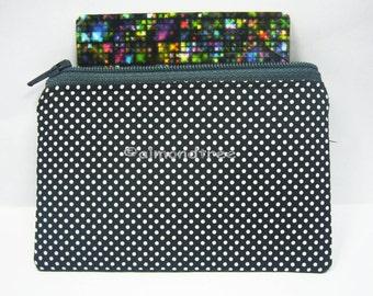 Grey Retro polka dot, wallet, gift men, portefeuille zip coin purse credit card case id1370601 portemonnaie cardholder handmade, fabric