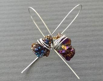 Druzy Titanium Nugget Earrings Purple Metallic Blue Wire Wrapped Druzy Jewelry 3 Raw Crystal Earrings Rainbow Crystal