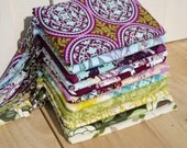 5 Purple and Green CLUTCHES gift pouches wedding bridal 2 pockets bridesmaids gift for her wristlet wallet