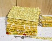 6 YELLOW WEDDING CLUTCHES gift pouches wedding bridal 2 pockets bridesmaids gift for her wristlet wallet