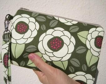 Wedding Clutch 2 pockets gift pouch,medium,green,cotton, wristlet  wallet  --- Bloom thyme