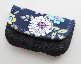Little Floral and Denim Storage Pouch | Case for Storing Cosmetics and Other Small Items