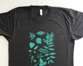 Botanical tee, plant shirt, leaves and flowers top, gardening shirt (size UNISEX SMALL) screen printed shirt