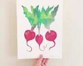Beets, screenprint, kitchen art, chef gift, hostess gift, cooking print, screen print / silkscreen print