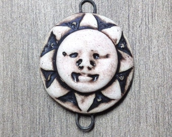 Sunshine Face Ceramic Cabochon Stone in Pewter and Bone