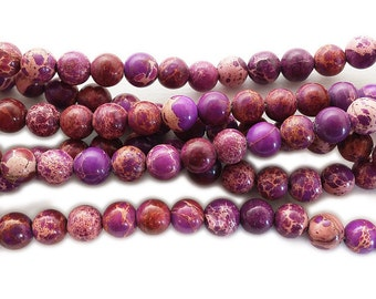 Purple Imperial Jasper Round Gemstone Beads