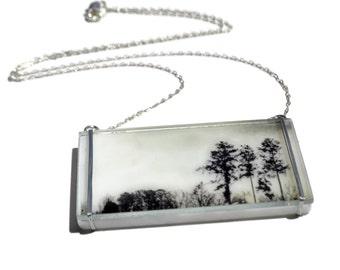 Three of Us Glass Necklace, Tree Necklace, Photo Necklace, Photo Jewelry, Unique Necklace, Glass Jewelry, Photoglassworks, Tracy Antonik