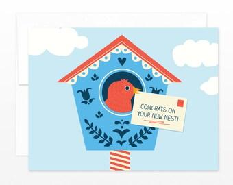 New Home Card, Cute Birdhouse Card, Moving Card, New Apartment Card, New House Card, New Place, Congratulations Card, New Nest, Bird Card
