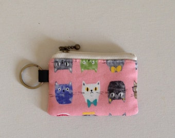 Key/coin purse - Cat face (pink or yellow)