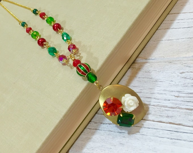 Featured listing image: Christmas Necklace, Locket Necklace, Festive Holiday Jewelry, Beaded Christmas Necklace, Rhinestone Necklace, Christmas Flower Necklace