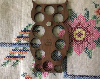 Owl embroidery floss organizer - walnut