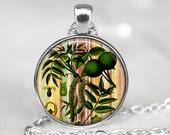 Botanical Art Pendant, Walnut Art Pendant, Walnut Necklace, Walnut Jewelry, Pendant Necklace , Bronze, Silver, Leaves Glass Pendant  043