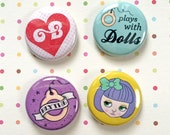 "I LOVE BLYTHE 4 PACK / 1"" Pins Buttons Blythe Doll"