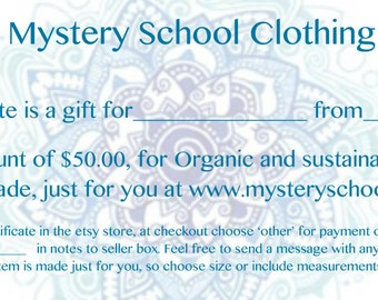 Organic Gifts - Gift certificate for  Organic Clothing- 50 Dollar Gift Certificate includes free shipping on order when finished