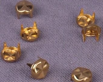 Gold Round Pyramid Studs - 6mm - 1000 Pieces (MS6GORPD-1000)