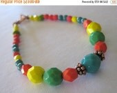 on sale Layering Bracelet/Stackable/Beaded Jewelry/Bright Colors/Czech Glass/Turquoise/Copper/Carnival Colors/Beach/Fun Jewelry