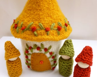 Gnome house Felted Wool Gnome Home peg dolls