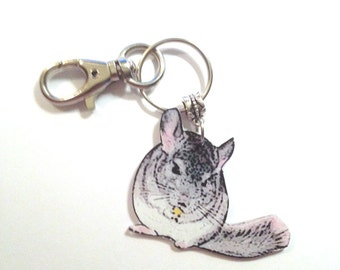 Handcrafted Plastic Chinchilla Keyring Purse Charm FOB Made in USA
