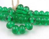 Transparent Emerald Green Spacers - Handmade Artisan Lampwork Glass Beads 5mmx9mm - SRA (Set of 10 Spacer Beads)