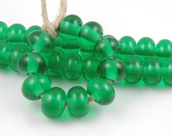 Transparent Emerald Green Spacers - Handmade Artisan Lampwork Glass Beads 5mmx9mm - SRA (Set of 10 Spacer Beads)