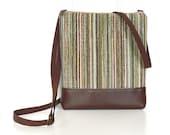 Small Crossbody Bag, Cross Body Purse, Zipper Hip Bag - Oasis Stripe in Aqua Blue, Olive and Brown