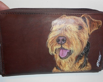 Lakeland Terrier Dog Custom hand Painted Women's ladies' Leather Wallet