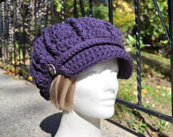 Dark Aubergine Purple Newsboy Hat with Brim now with Band and Buttons - Women's Crochet Hat Women's Accessories Purple Hat