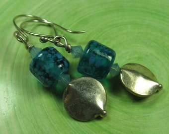 Pretty fritty teal barrel earrings