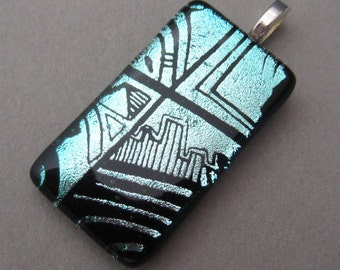 Silver Blue Cityscape dichroic glass pendant long dichroic glass  rectangle fused glass jewelry Abstract pattern