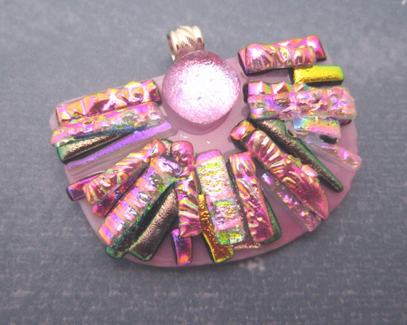 Hawaii Sunrise Magenta texture dichroic glass pendant Sterling Silver and fused dichroic glass jewelry Shades of pink rose lavender purple