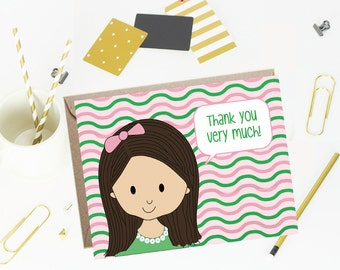 Thank You Note Cards for Kids- Preppy Wave- Set of 10