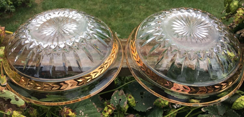 Vintage lenox pair of crystal bowls gold rim trim majestic
