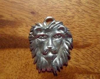 Hand sculpted LARGE LION FACE charm or pendant