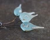 Dew - Handmade Glass HeadPins, Lampwork Headpins, jewelry headpin, glass headpin - SRA Elasia MTO - Choose Shape & Finish!