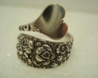 Floral Pattern Spoon Ring Adjustable