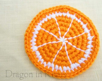 Orange Slice Desk Coaster - Single Crocheted Citrus Fruit Coaster, bright neon dorm decor for him, gift under 10 for people who live alone