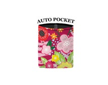 Auto Pocket - Floral Burst - Raspberry - Car Accessory Automobile Caddy Pouch Cell Phone Sunglasses Coin Cell Caddy Charger