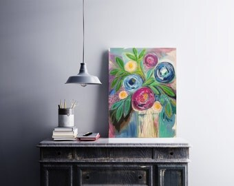 floral, flowers, contemporary, decor, blooms, blossoms, statement, painting, canvas, midsummer, purple, wall art, still life, large