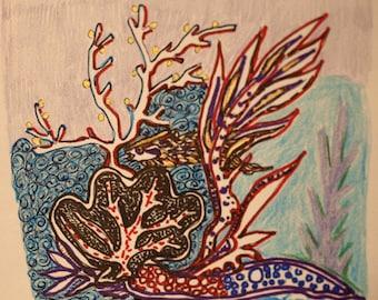 Fish  Under Sea (mixed media)