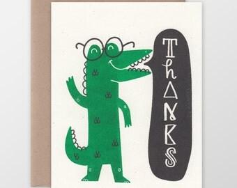 Alligator Thanks Risograph Card