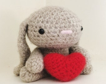 Felted wool crochet bunny with heart